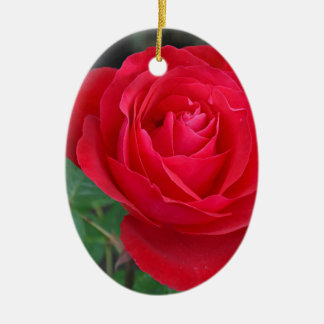 Single red rose ceramic oval decoration