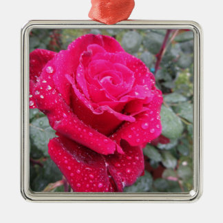 Single red rose flower with water droplets metal ornament
