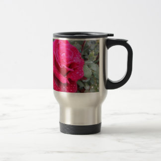 Single red rose flower with water droplets travel mug
