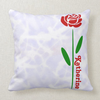 Single Red Rose Green Stem Leaves Customise Name Throw Pillow
