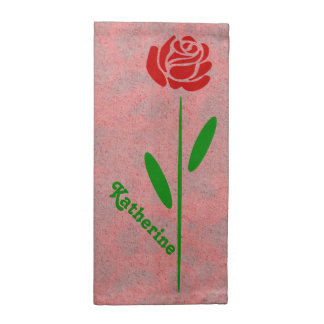 Single Red Rose Green Stem Leaves Customize Name Cloth Napkins