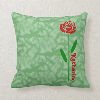 Single Red Rose Green Stem Leaves Customize Name Cushion