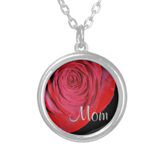 Single Red Rose Mom Necklace