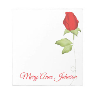 Single red rose note pad