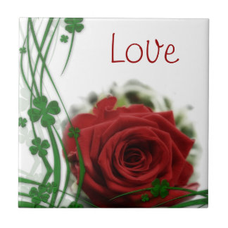 Single Red Rose Small Square Tile