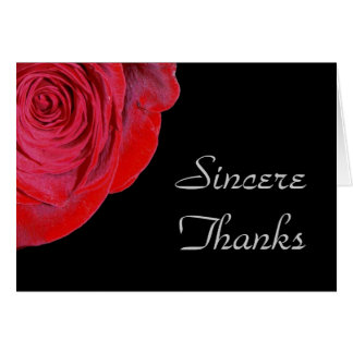 Single Red Rose Thank You Card