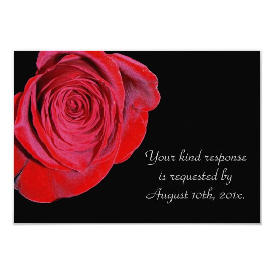Single Red Rose Wedding RSVP Card