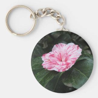 Single red streaked white flower Camellia japonica Key Ring