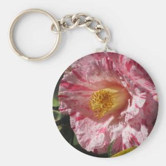 Single red streaked white flower of Camellia Key Ring