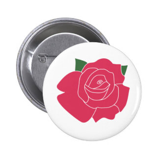 Single Rose Close Up Button Badge