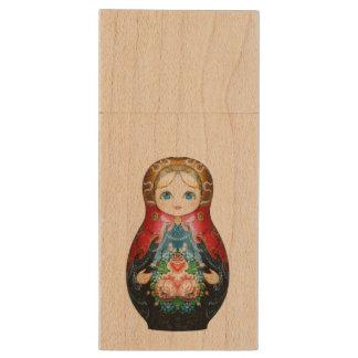 Single Russian doll Wood USB 3.0 Flash Drive
