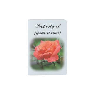 Single Salmon Rose with Raindrops Passport Holder
