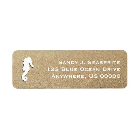 Single Sea Horse Beach Sand Return Address Label