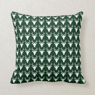Single Sided White Deer Green/White Pillow