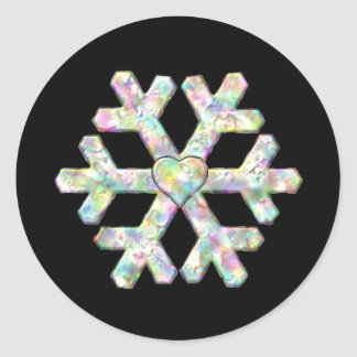Single Snowflake on Black Winter Classic Round Sticker