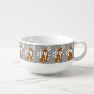 Single Snowy Winter Red Foxes Soup Mug