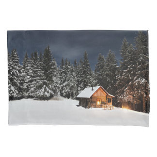 Single Standard Pillowcase with Winter Cabin