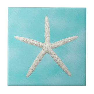 Single Starfish on Aqua Blue Ceramic Tile