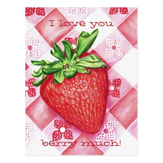 Single Strawberry Art Postcard