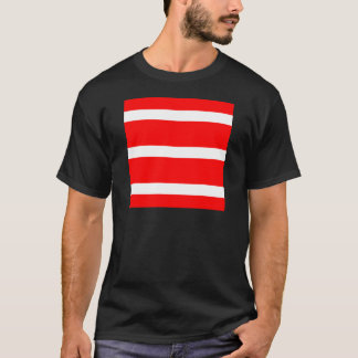 Single Stripe - White on Red T-Shirt