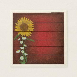 Single Sunflower on Burgundy Barn Board Napkins Disposable Napkin