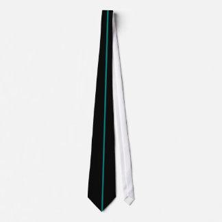 Single Teal Stripe on Black Tie
