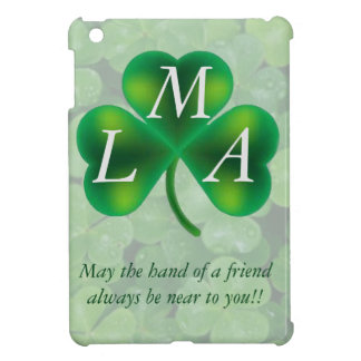 Single Three Leaf Clover on Clover Monogram iPad Mini Cover