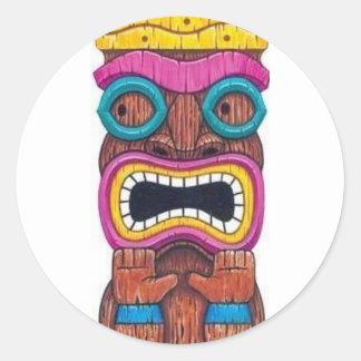 single tiki mask round sticker