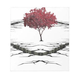 Single tree isolated from nature sad notepad