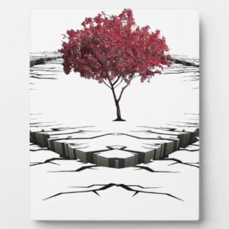 Single tree isolated from nature sad plaque