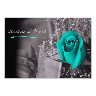 Single Turquoise Rose Fade to Black Wedding Card