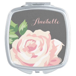Single Vintage Rose Personalized Makeup Mirror
