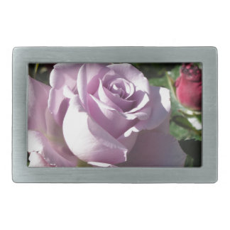 Single violet rose flower with red roses around belt buckle