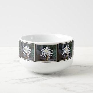 Single White Cactus Bloom Soup Bowl