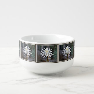 Single White Cactus Bloom Soup Bowl Soup Bowl With Handle
