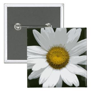Single White Daisy 15 Cm Square Badge