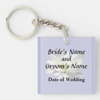 Single White Daisy Wedding Products Key Ring