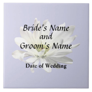 Single White Daisy Wedding Products Tile