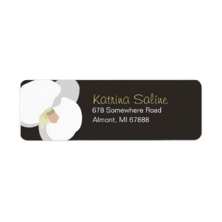 Single White Orchid Return Address Label