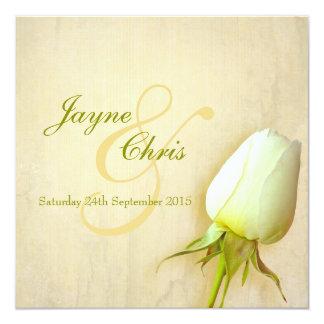 Single white rose bud wedding square invitation