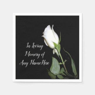 Single White Rose Disposable Napkin