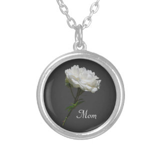Single White Rose for Mom Necklaces