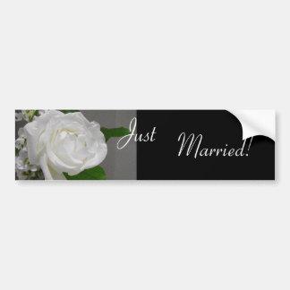 Single White Rose Wedding Bumper Sticker