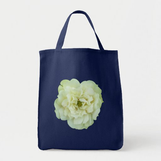 Single White Tea Rose Canvas Bags