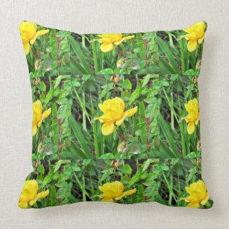 Single Yellow Rose Bud Throw Pillow