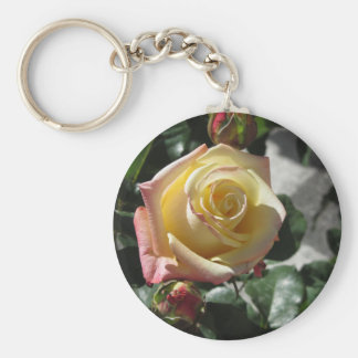 Single yellow rose flower in spring key ring