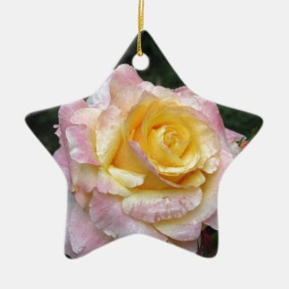 Single yellow rose flower with water droplets ceramic ornament
