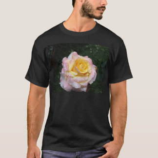 Single yellow rose flower with water droplets T-Shirt