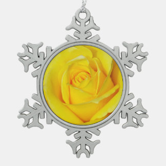 Single yellow rose pewter snowflake ornament