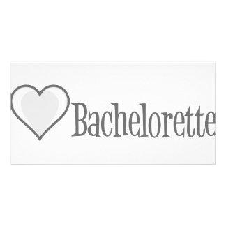 SingleHeart-Bachelorette-Grey Personalised Photo Card